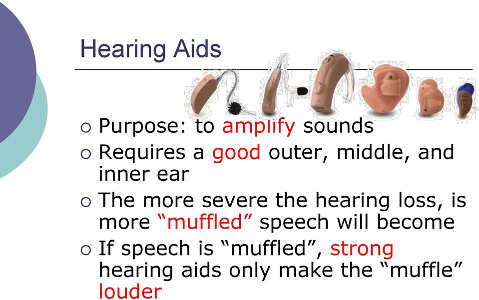 hearing loss, is more muffled speech will become If