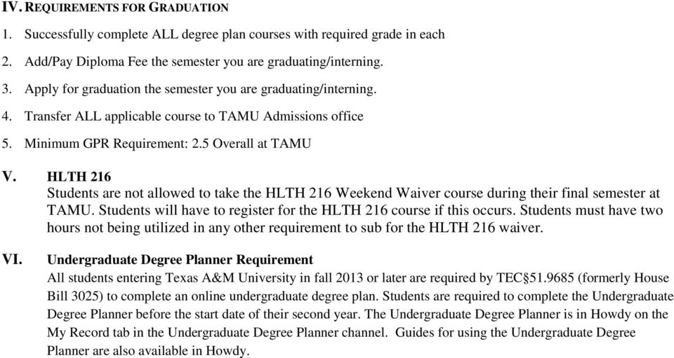 HLTH 216 Students are not allowed to take the HLTH 216 Weekend Waiver course during their final semester at TAMU. Students will have to register for the HLTH 216 course if this occurs.