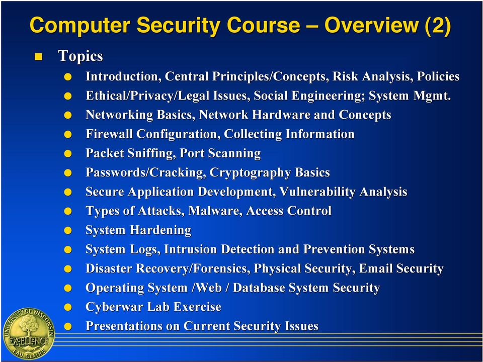 Packet Sniffing, Port Scanning! Passwords/Cracking, Cryptography Basics! Secure Application Development, Vulnerability Analysis! Types of Attacks, Malware, Access Control!