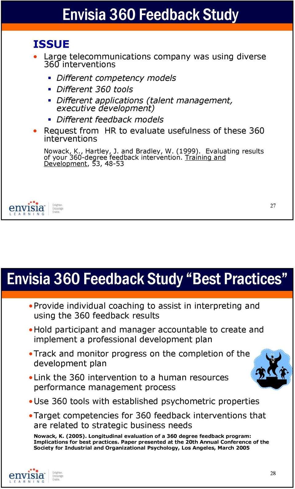 Evaluating results of your 360-degree feedback intervention.