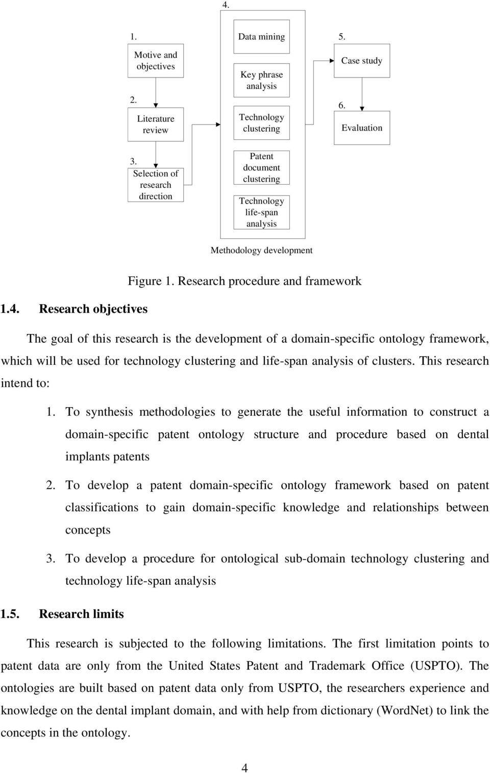 Research objectives The goal of this research is the development of a domain-specific ontology framework, which will be used for technology clustering and life-span analysis of clusters.
