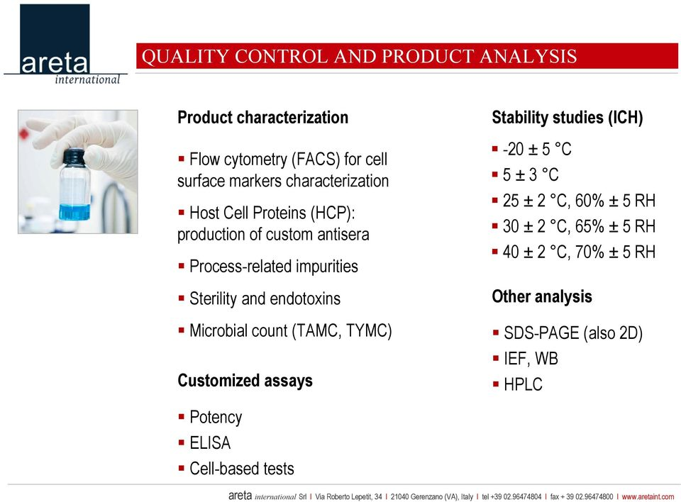 endotoxins Microbial count (TAMC, TYMC) Customized assays Stability studies (ICH) -20 ± 5 C 5 ± 3 C 25 ± 2 C, 60% ±