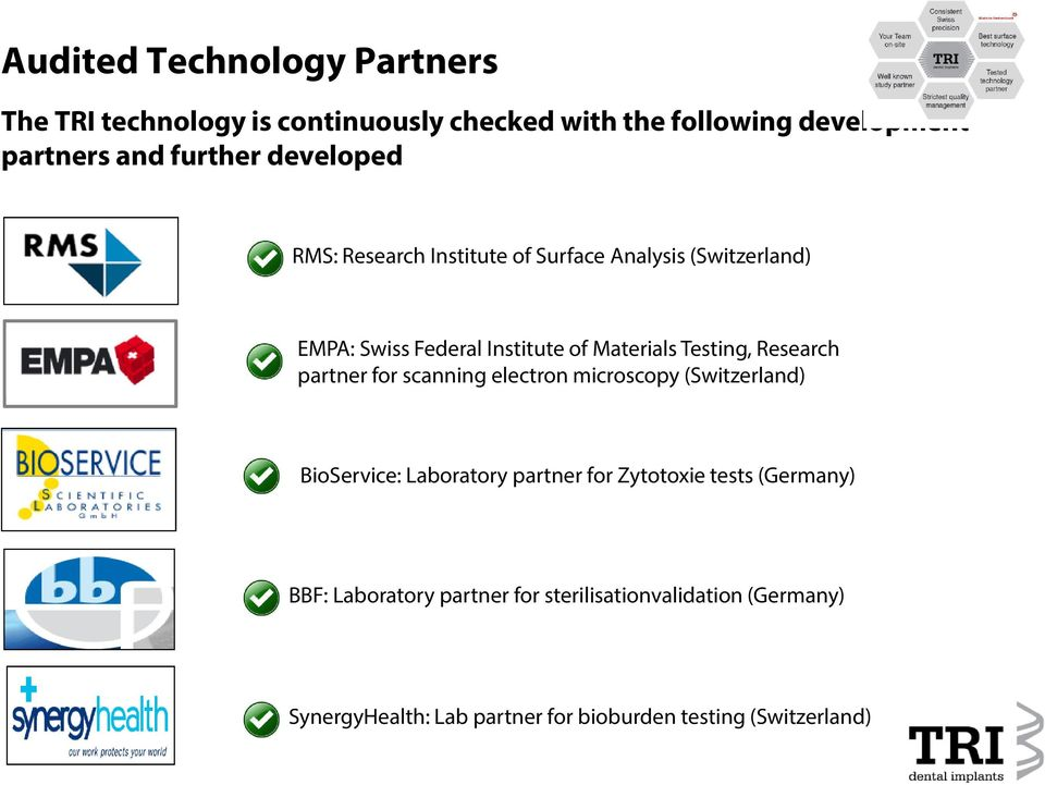 Research partner for scanning electron microscopy (Switzerland) BioService: Laboratory partner for Zytotoxie tests