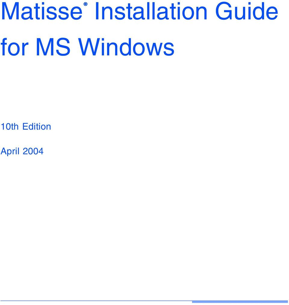 Guide for MS