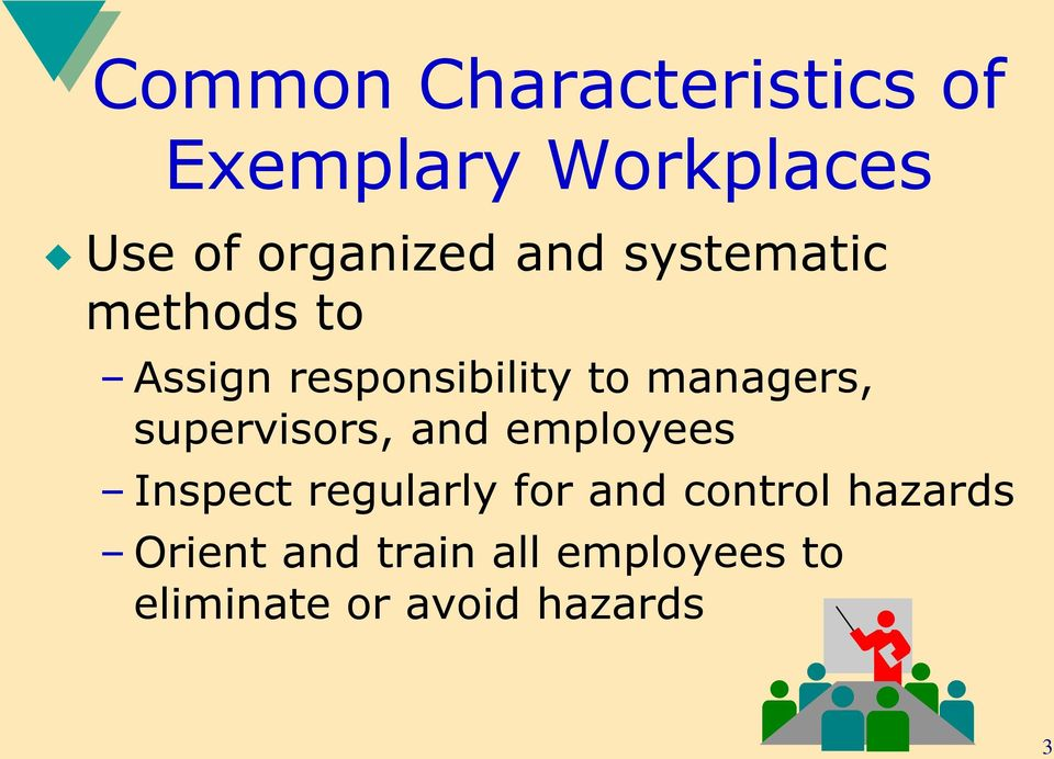 supervisors, and employees Inspect regularly for and control