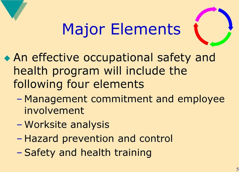 Management commitment and employee involvement Worksite