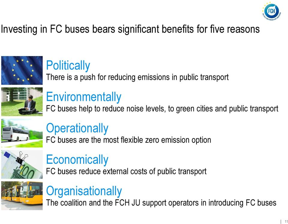 transport Operationally FC buses are the most flexible zero emission option Economically FC buses reduce