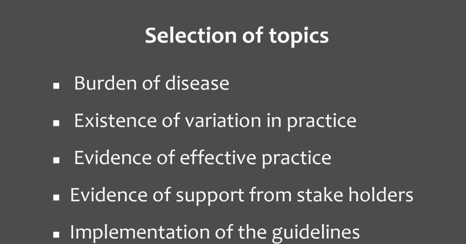 of effective practice Evidence of support