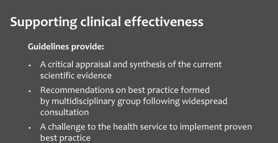 Recommendations on best practice formed by multidisciplinary group