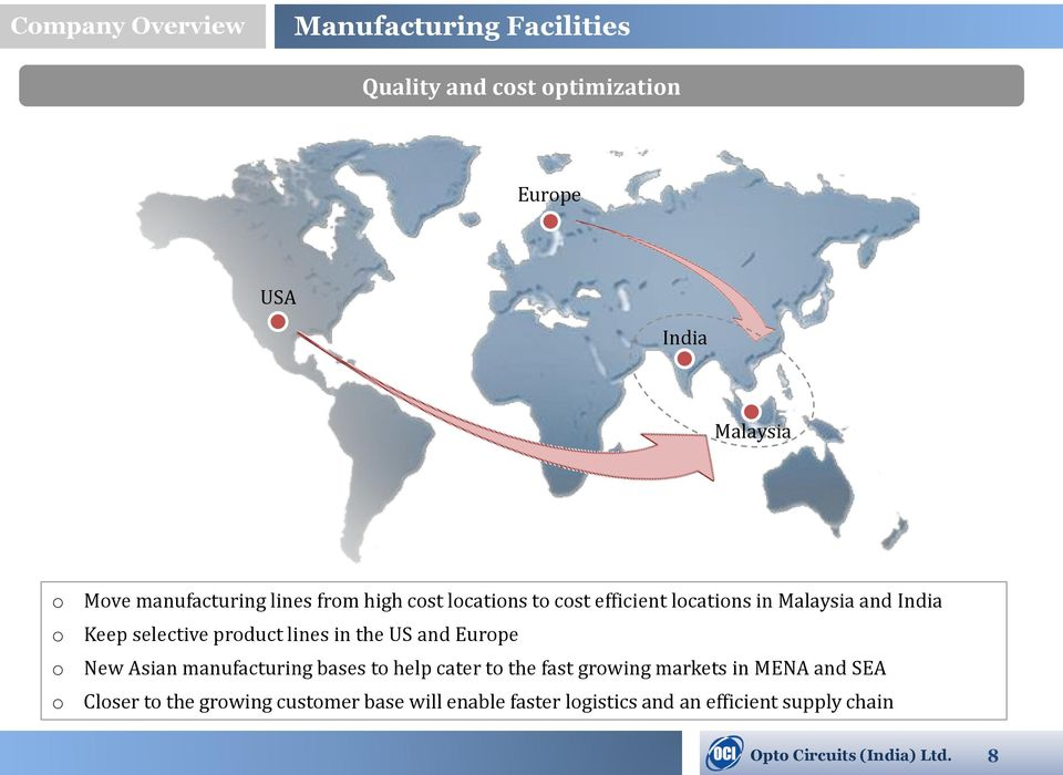 lines in the US and Eurpe New Asian manufacturing bases t help cater t the fast grwing markets in MENA and