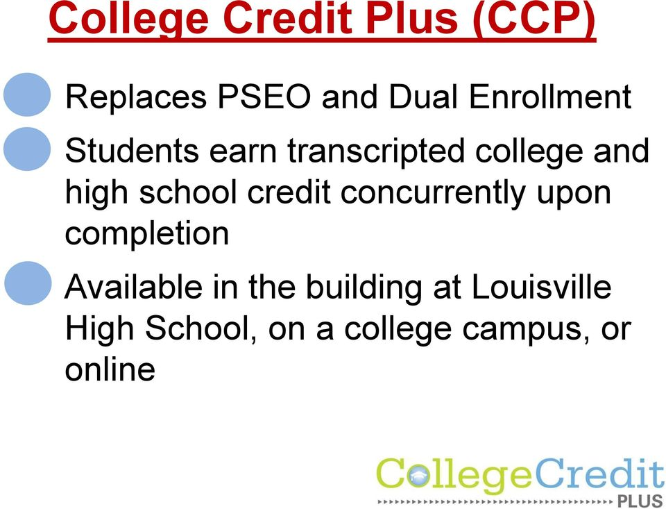 school credit concurrently upon completion Available in