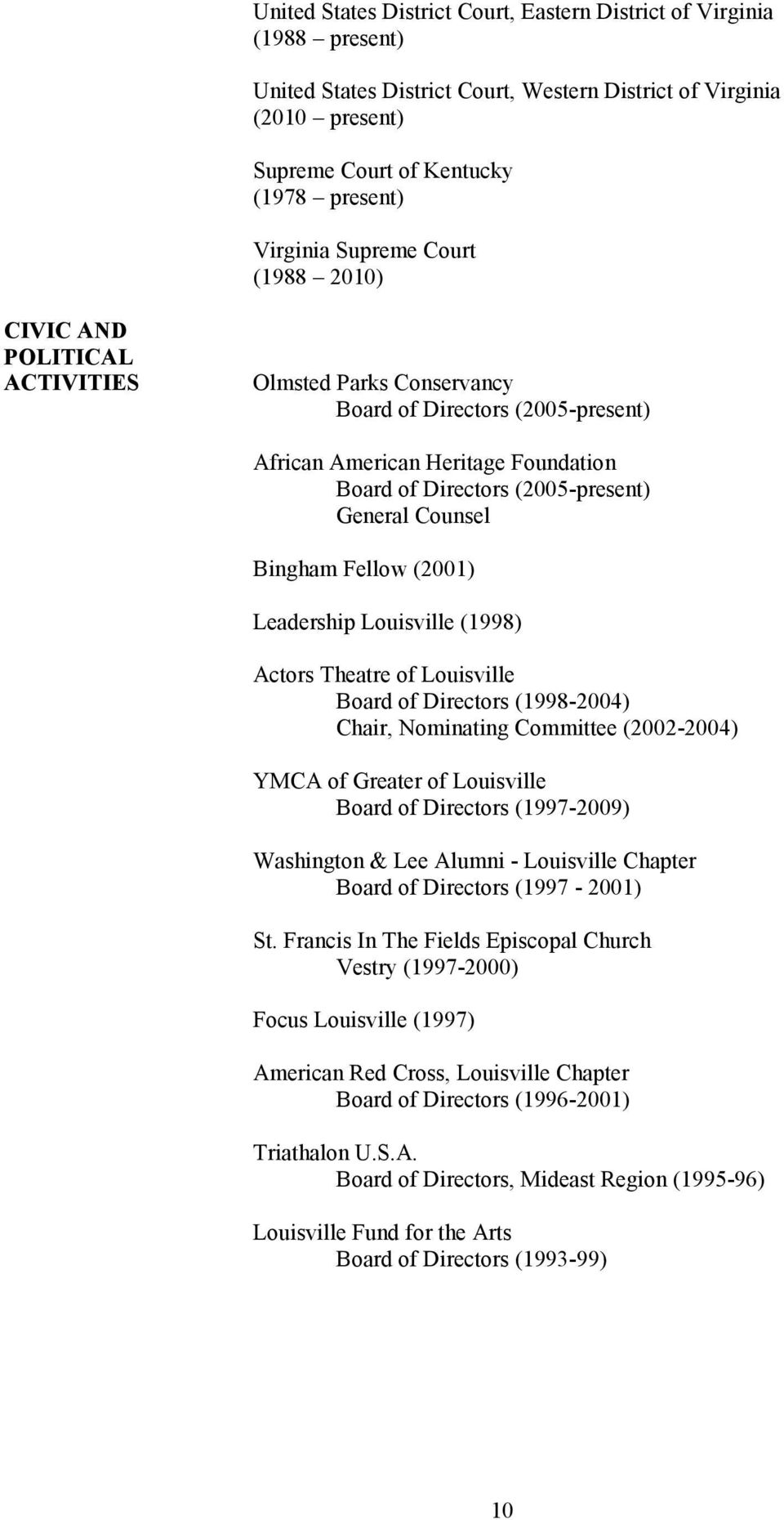 Counsel Bingham Fellow (2001) Leadership Louisville (1998) Actors Theatre of Louisville Board of Directors (1998-2004) Chair, Nominating Committee (2002-2004) YMCA of Greater of Louisville Board of