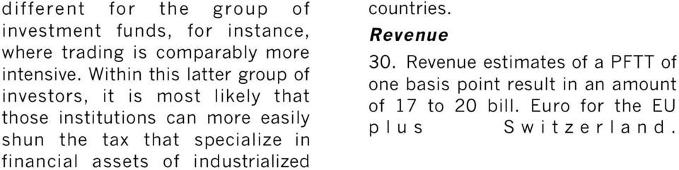 the tax that specialize in financial assets of industrialized countries. Revenue 30.