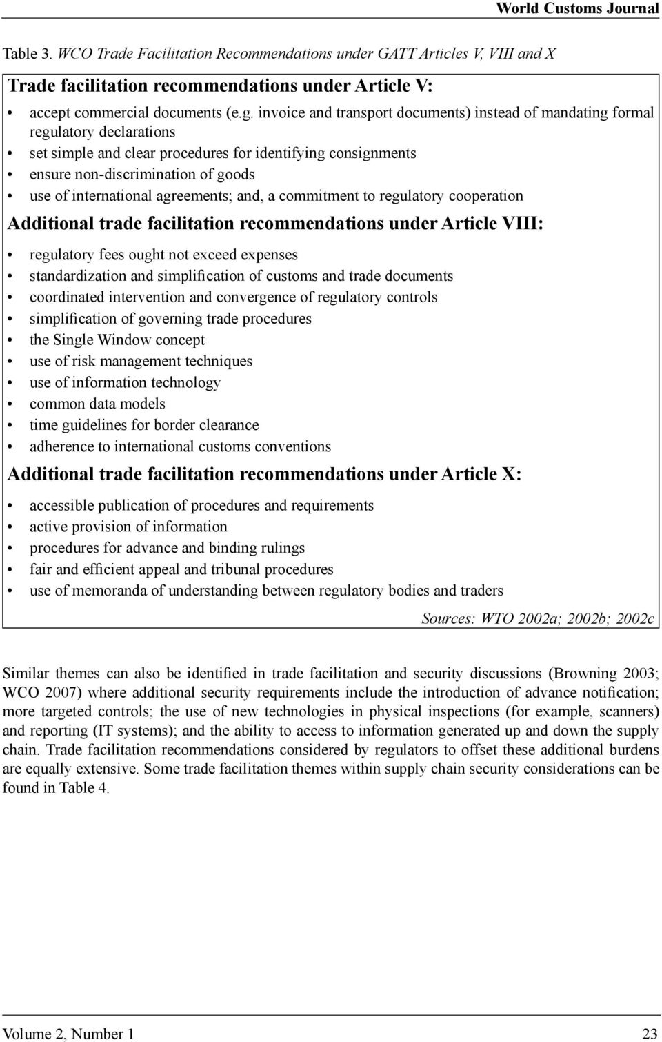 international agreements; and, a commitment to regulatory cooperation Additional trade facilitation recommendations under Article VIII: regulatory fees ought not exceed expenses standardization and