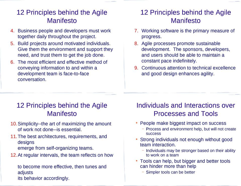 The most efficient and effective method of conveying information to and within a development team is face-to-face conversation. 12 Principles behind the Agile 7.