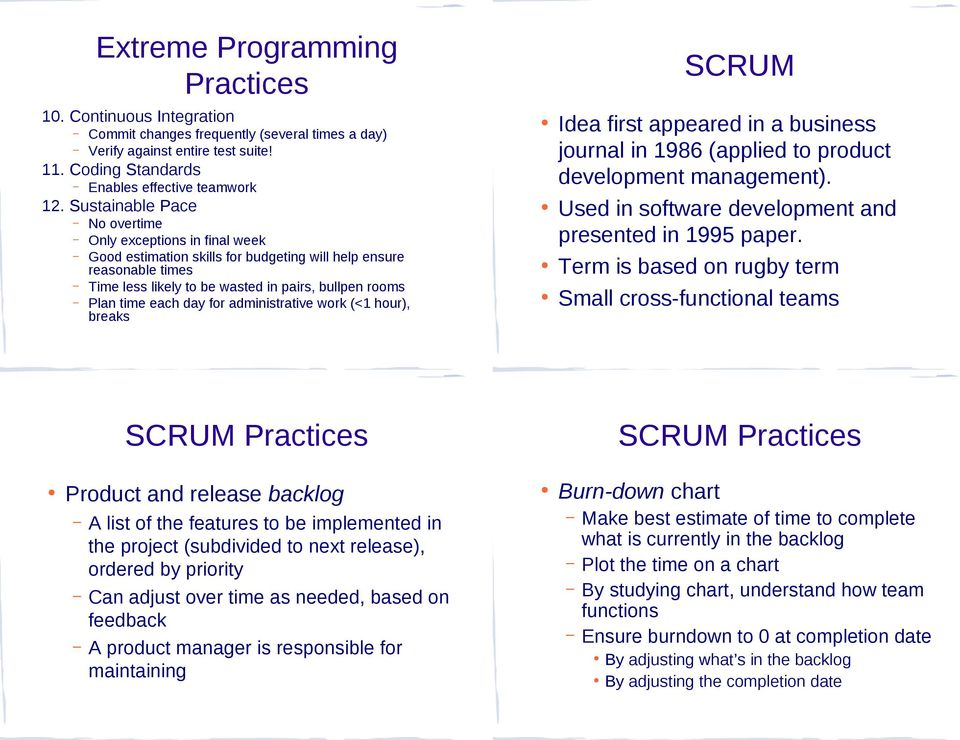 day for administrative work (<1 hour), breaks SCRUM Idea first appeared in a business journal in 1986 (applied to product development management).
