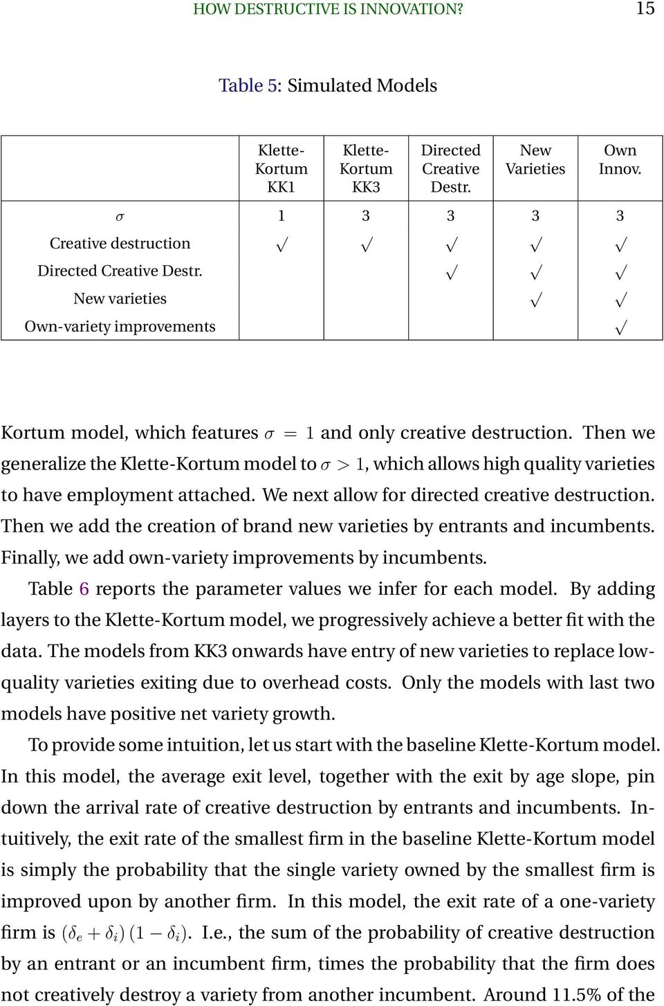 Then we generalize the Klette-Kortum model to σ > 1, which allows high quality varieties to have employment attached. We next allow for directed creative destruction.