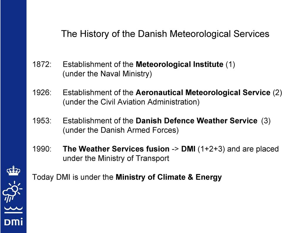 Administration) 1953: Establishment of the Danish Defence Weather Service (3) (under the Danish Armed Forces) 1990: The