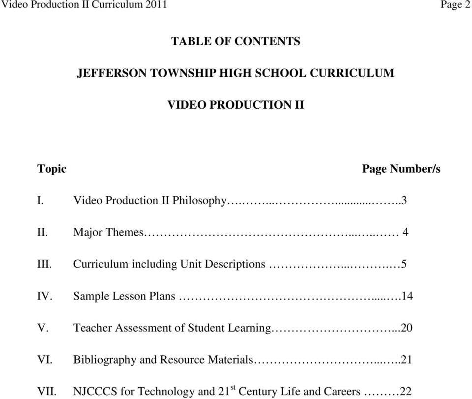 Curriculum including Unit Descriptions.... 5 Sample Lesson Plans....14 V. Teacher Assessment of Student Learning.