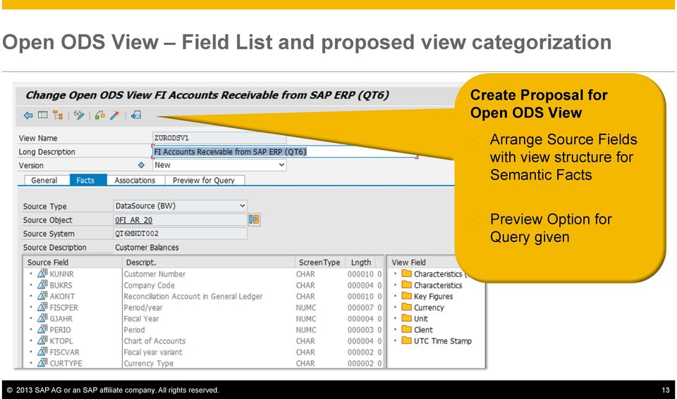 view structure for Semantic Facts Preview Option for Query