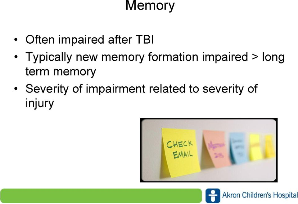 impaired > long term memory