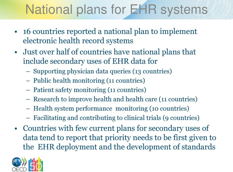 Research to improve health and health care (11 countries) Health system performance monitoring (10 countries) Facilitating and contributing to clinical trials (9
