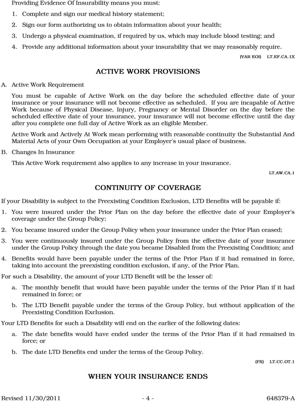 CA.1X ACTIVE WORK PROVISIONS A.