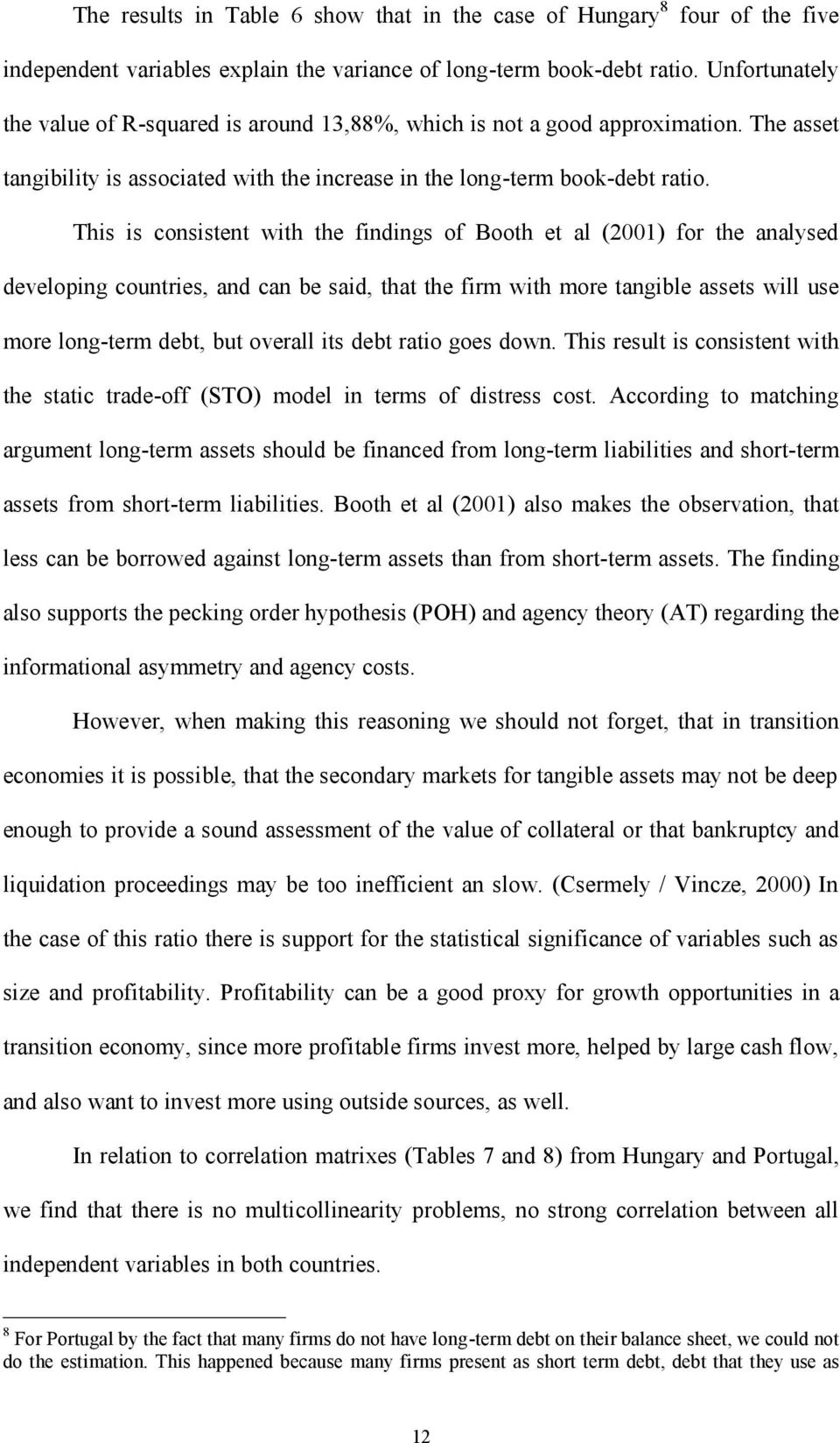 This is consistent with the findings of Booth et al (2001) for the analysed developing countries, and can be said, that the firm with more tangible assets will use more long-term debt, but overall