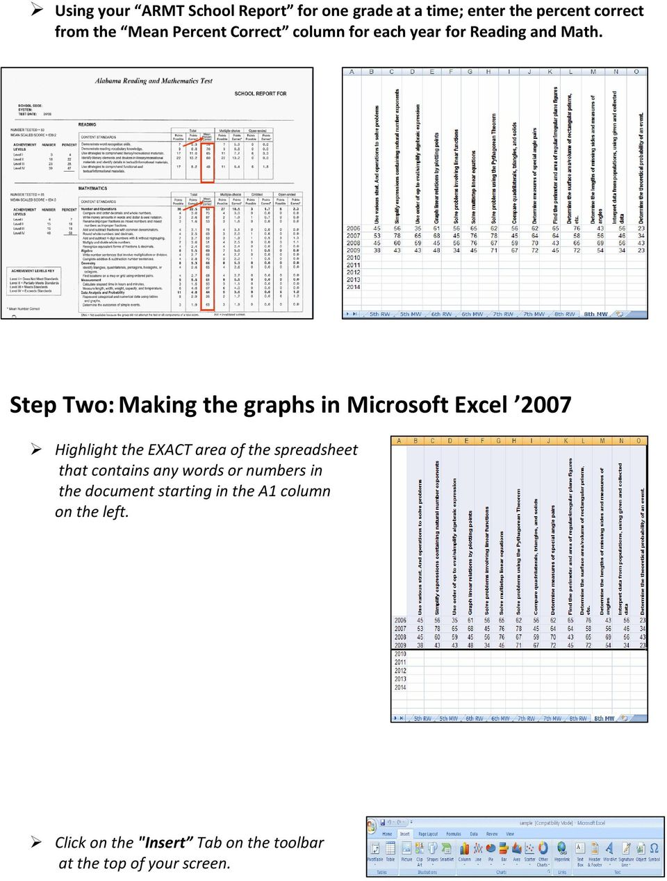 Step Two: Making the graphs in Microsoft Excel 2007 Highlight the EXACT area of the spreadsheet that