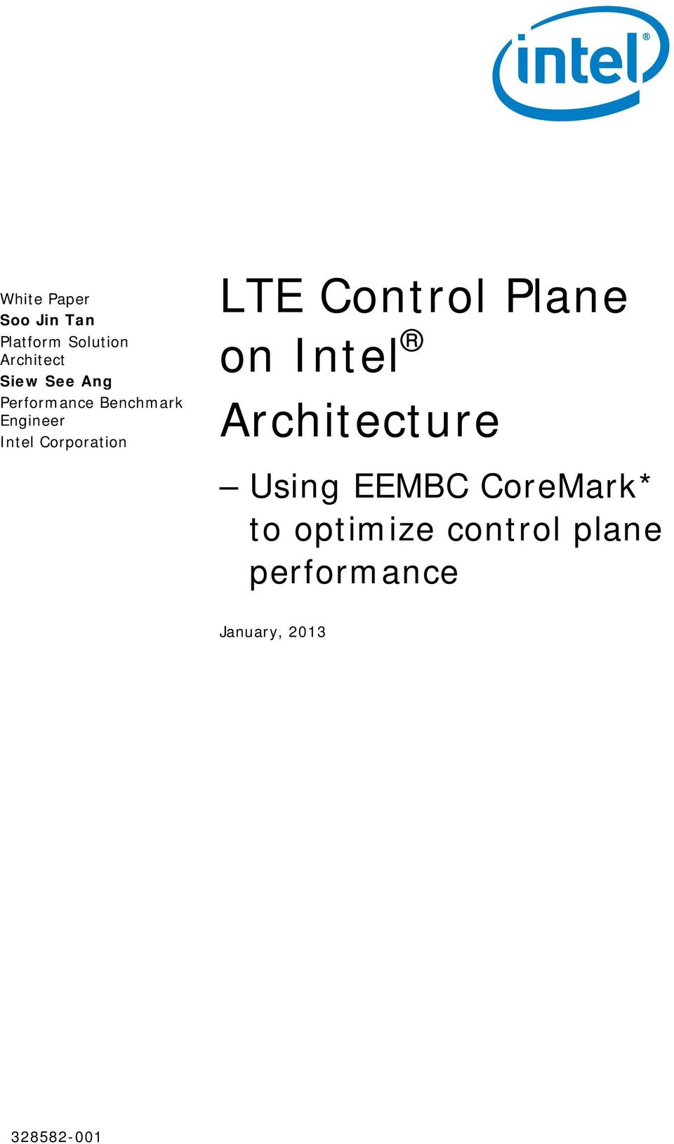 LTE Control Plane on Intel Architecture Using EEMBC