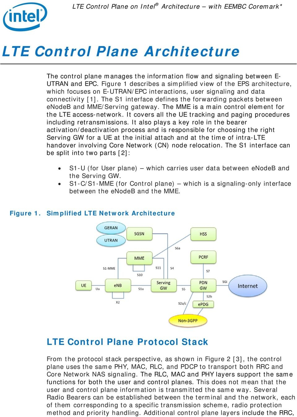 The S1 interface defines the forwarding packets between enodeb and MME/Serving gateway. The MME is a main control element for the LTE access-network.