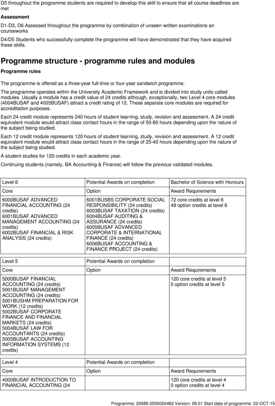 Programme structure - programme rules and modules Programme rules The programme is offered as a three-year full-time or four-year sandwich programme.