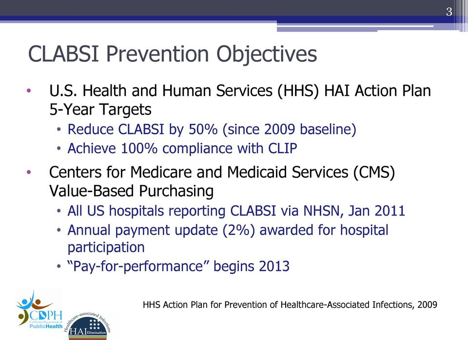 Health and Human Services (HHS) HAI Action Plan 5-Year Targets Reduce CLABSI by 50% (since 2009 baseline) Achieve