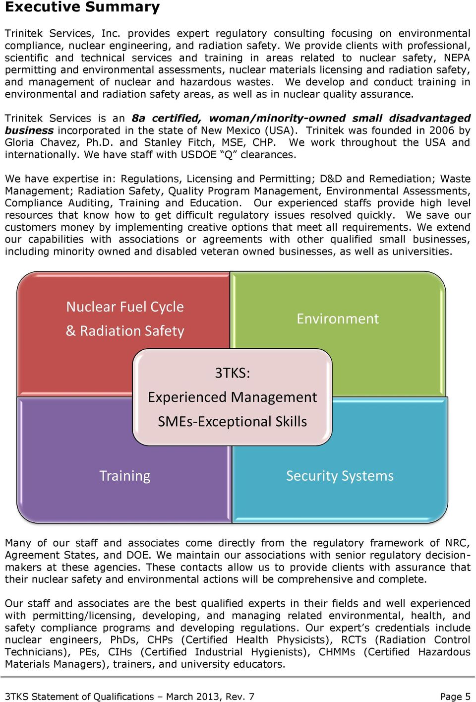 radiation safety, and management of nuclear and hazardous wastes. We develop and conduct training in environmental and radiation safety areas, as well as in nuclear quality assurance.
