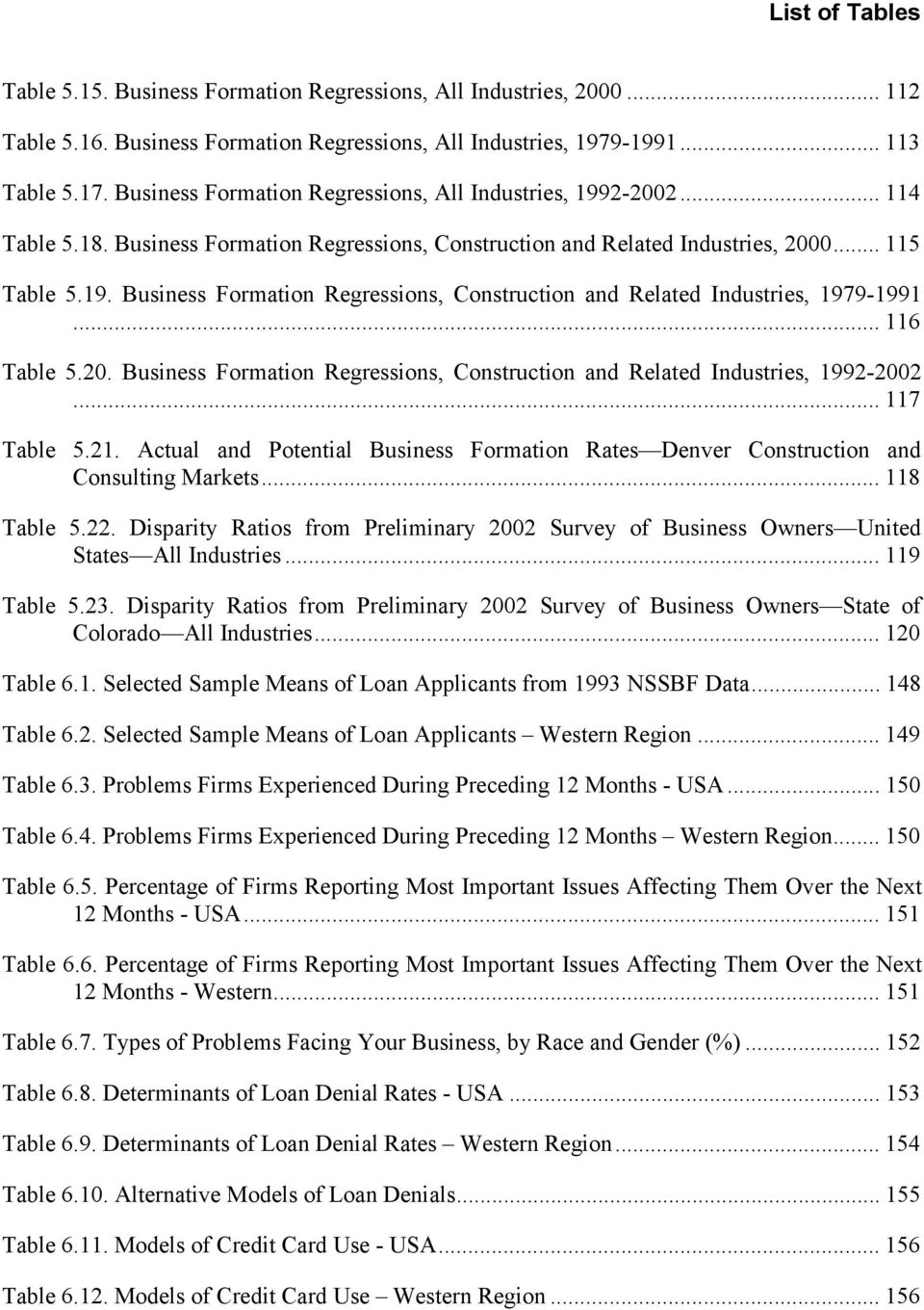 ..116 Table 5.20. Business Formation Regressions, Construction and Related Industries, 1992-2002...117 Table 5.21.