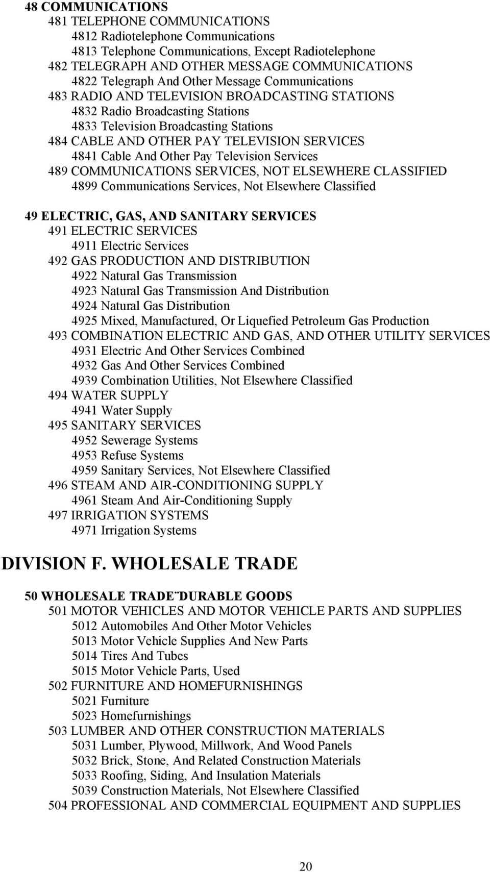 Cable And Other Pay Television Services 489 COMMUNICATIONS SERVICES, NOT ELSEWHERE CLASSIFIED 4899 Communications Services, Not Elsewhere Classified 49 ELECTRIC, GAS, AND SANITARY SERVICES 491