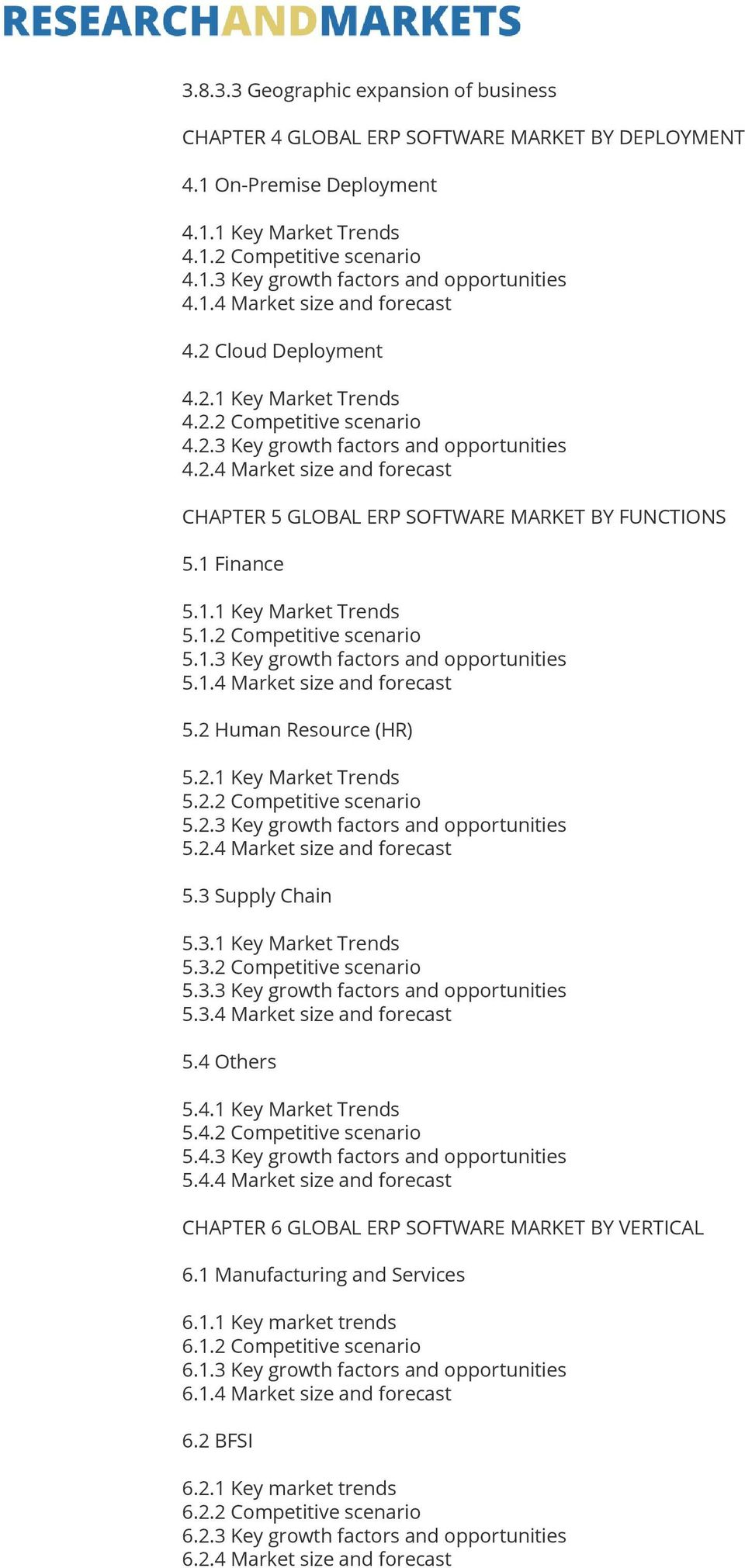 1 Finance 5.1.1 Key Market Trends 5.1.2 Competitive scenario 5.1.3 Key growth factors and opportunities 5.1.4 Market size and forecast 5.2 Human Resource (HR) 5.2.1 Key Market Trends 5.2.2 Competitive scenario 5.2.3 Key growth factors and opportunities 5.2.4 Market size and forecast 5.3 Supply Chain 5.