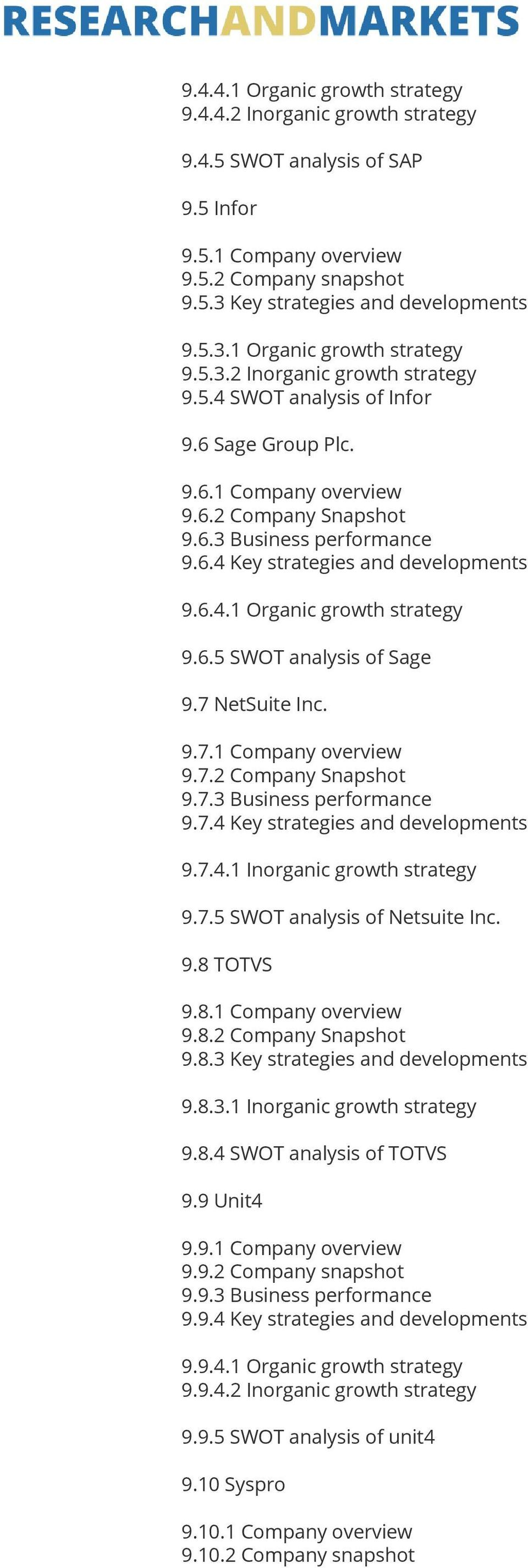 7 NetSuite Inc. 9.7.1 Company overview 9.7.2 Company Snapshot 9.7.3 Business performance 9.7.4 Key strategies and developments 9.7.4.1 Inorganic growth strategy 9.7.5 SWOT analysis of Netsuite Inc. 9.8 TOTVS 9.