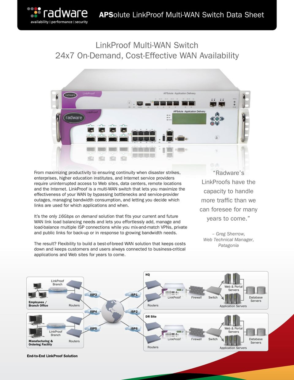 is a multi-wan switch that lets you maximize the effectiveness of your WAN by bypassing bottlenecks and service-provider outages, managing bandwidth consumption, and letting you decide which links