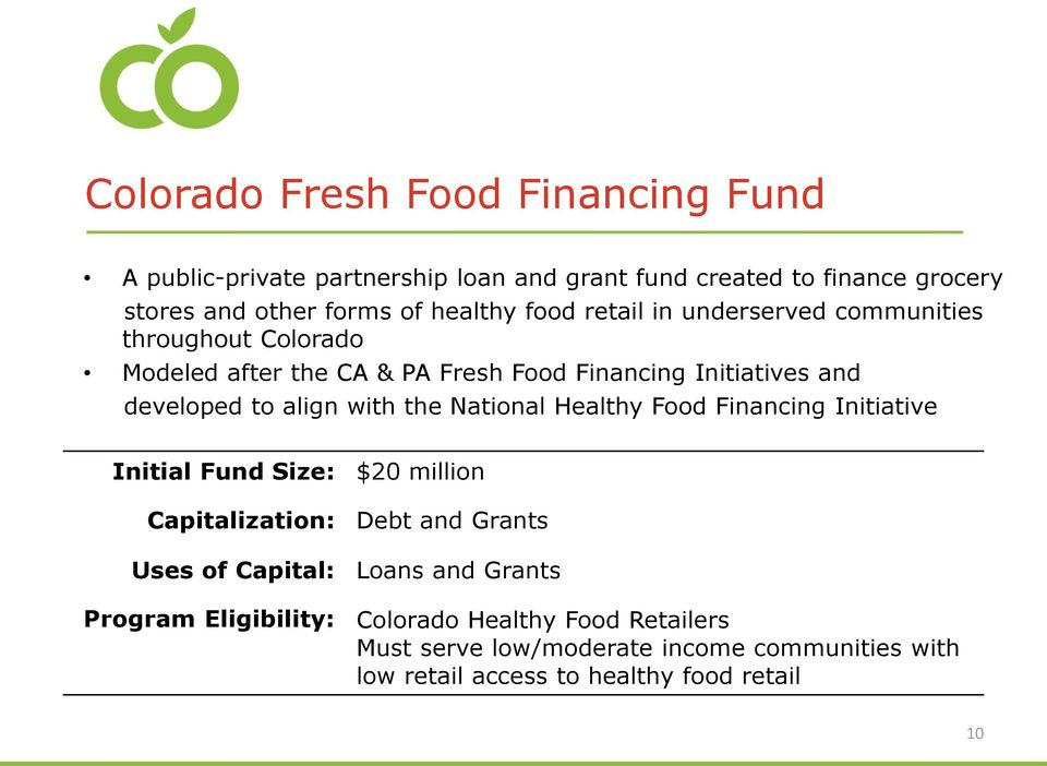 with the National Healthy Food Financing Initiative Initial Fund Size: $20 million Capitalization: Debt and Grants Uses of Capital: Loans and