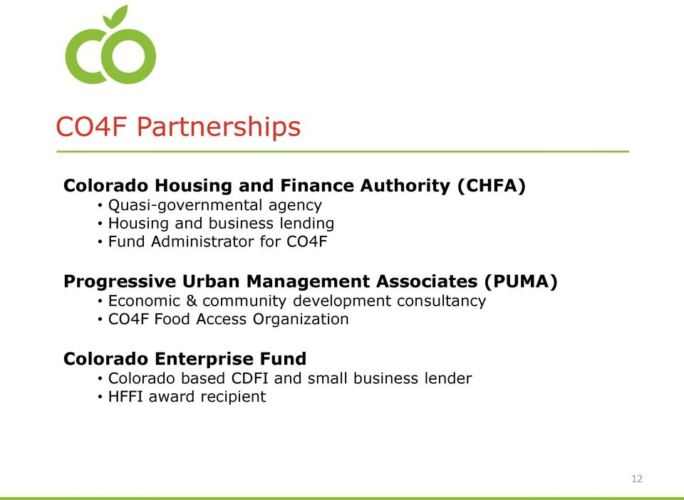 Associates (PUMA) Economic & community development consultancy CO4F Food Access