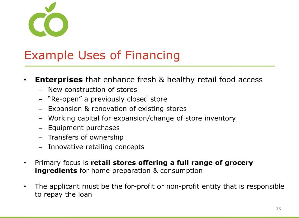 purchases Transfers of ownership Innovative retailing concepts Primary focus is retail stores offering a full range of grocery
