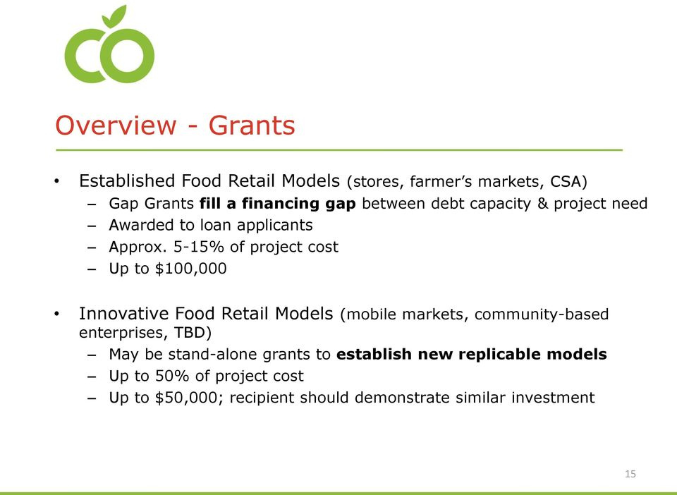 5-15% of project cost Up to $100,000 Innovative Food Retail Models (mobile markets, community-based enterprises,