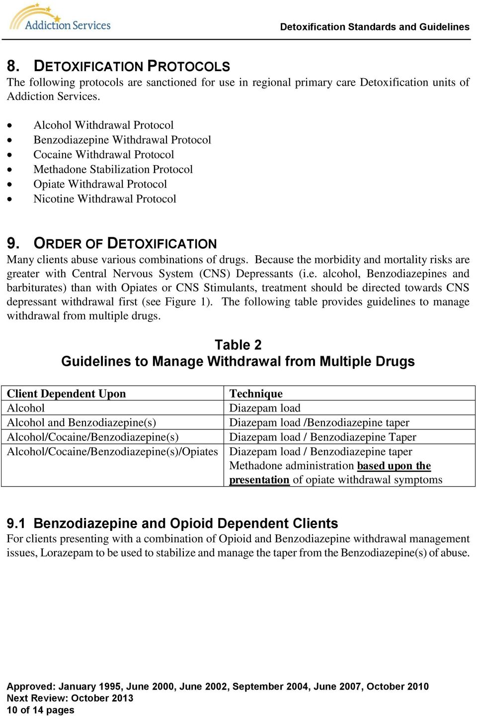 ORDER OF DETOXIFICATION Many clients abuse various combinations of drugs. Because the morbidity and mortality risks are greater with Central Nervous System (CNS) Depressants (i.e. alcohol, Benzodiazepines and barbiturates) than with Opiates or CNS Stimulants, treatment should be directed towards CNS depressant withdrawal first (see Figure 1).