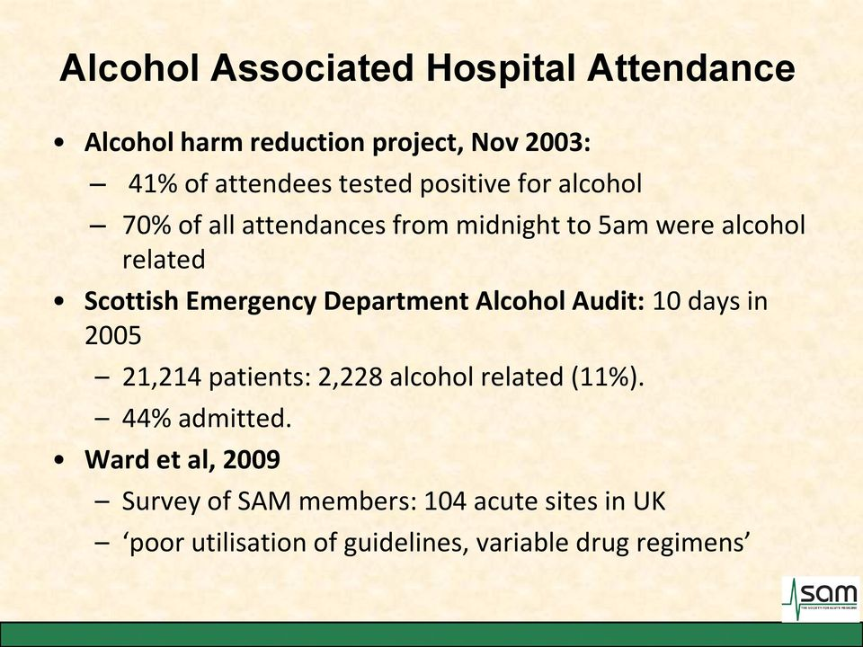 Department Alcohol Audit: 10 days in 2005 21,214 patients: 2,228 alcohol related (11%). 44% admitted.