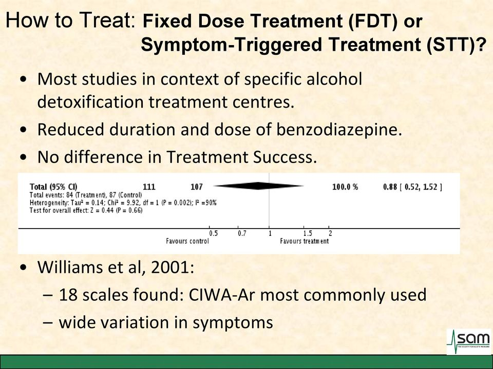 Reduced duration and dose of benzodiazepine. No difference in Treatment Success.
