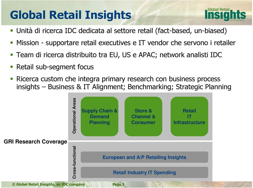 process insights Business & IT Alignment; Benchmarking; Strategic Planning Operational Areas Supply Chain & Demand Planning Store & Channel & Consumer Retail IT