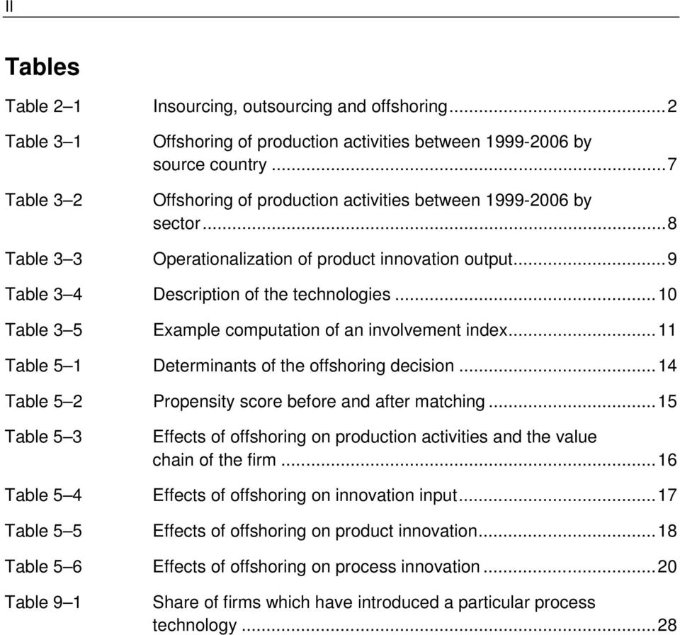 .. 10 Table 3 5 Example computation of an involvement index... 11 Table 5 1 Determinants of the offshoring decision... 14 Table 5 2 Propensity score before and after matching.