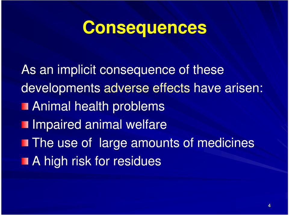 health problems Impaired animal welfare The use of