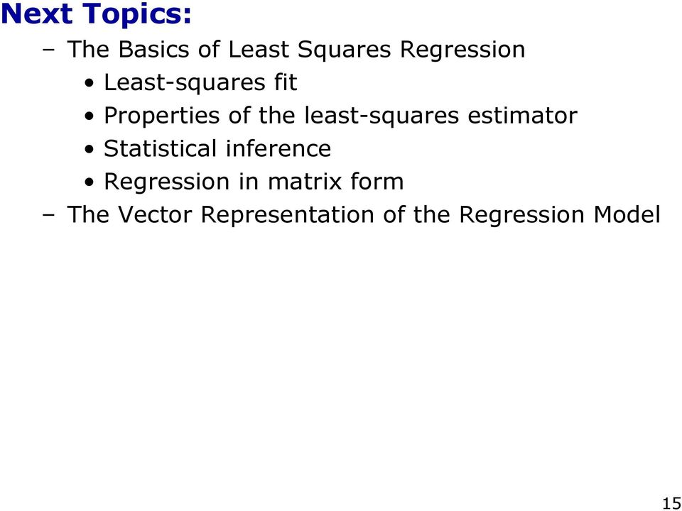 estimator Statistical inference Regression in matrix